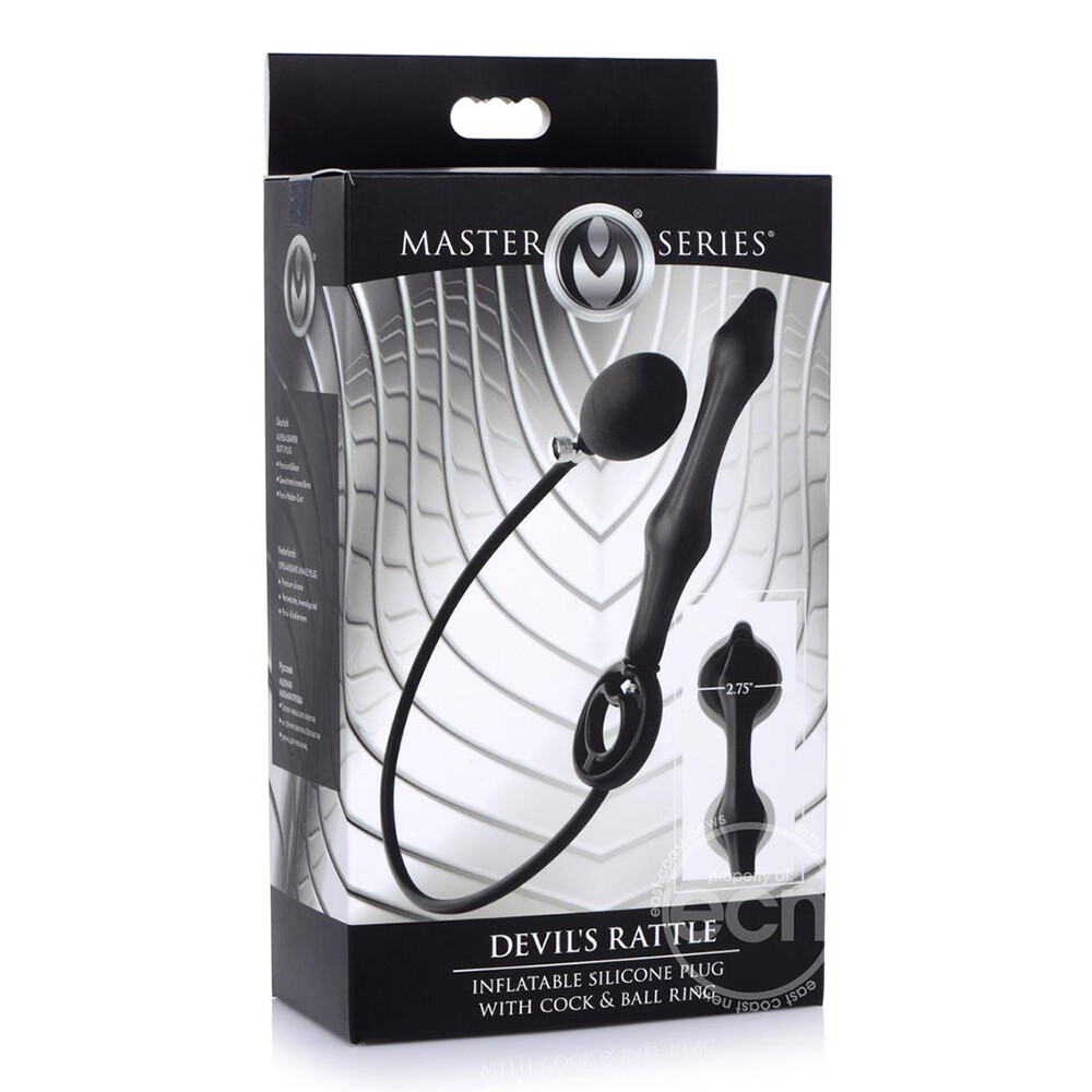 Master Series Devils Rattle Inflatable Anal Plug With Cock Ring