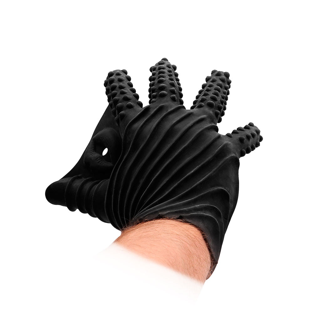 Fist It Black Textured Masturbation Glove