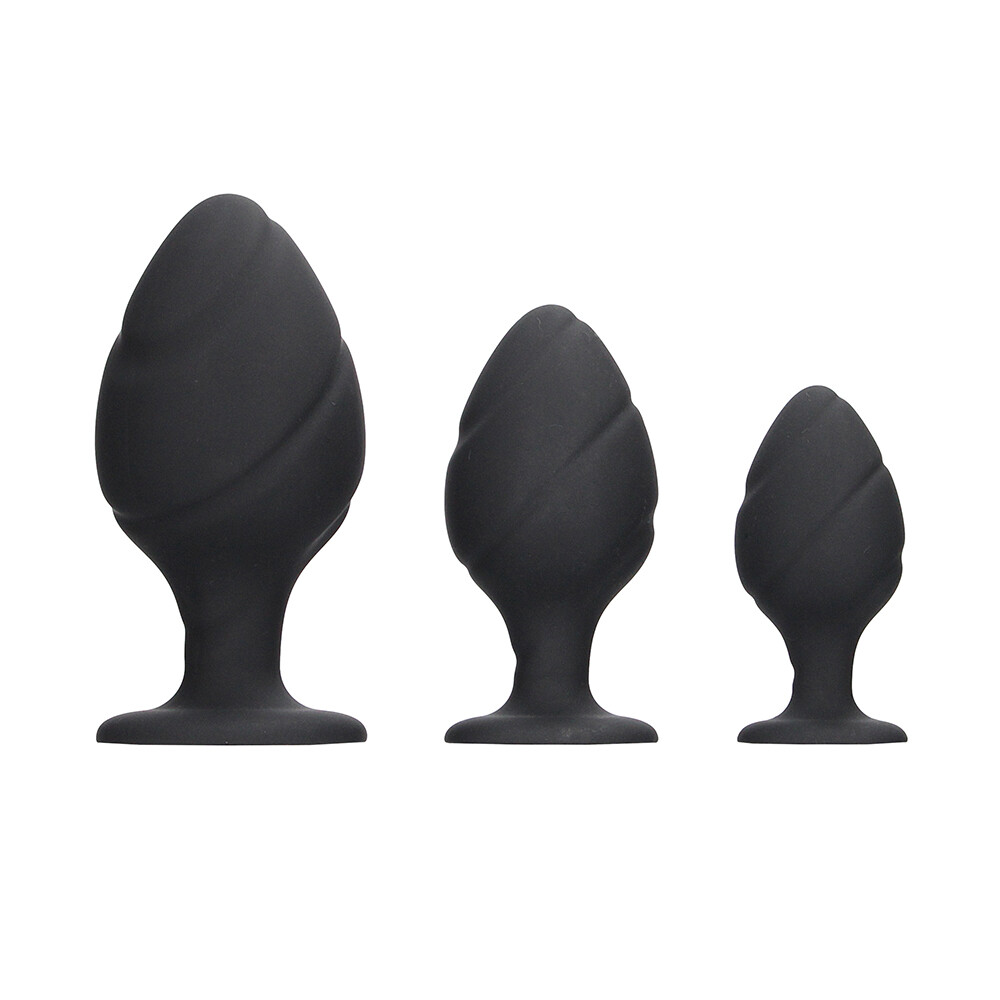 Ouch Silicone Swirled Butt Plug Set Black